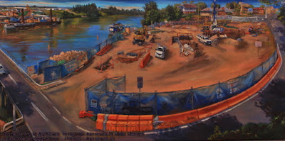 plein air oil painting of the historic Windsor Bridge and the construction of the new Windsor Bridge  across the Hawkesbury River painted by artist Jane Bennett