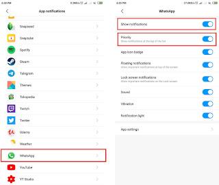 mengatur prioritas notifikasi whatsapp