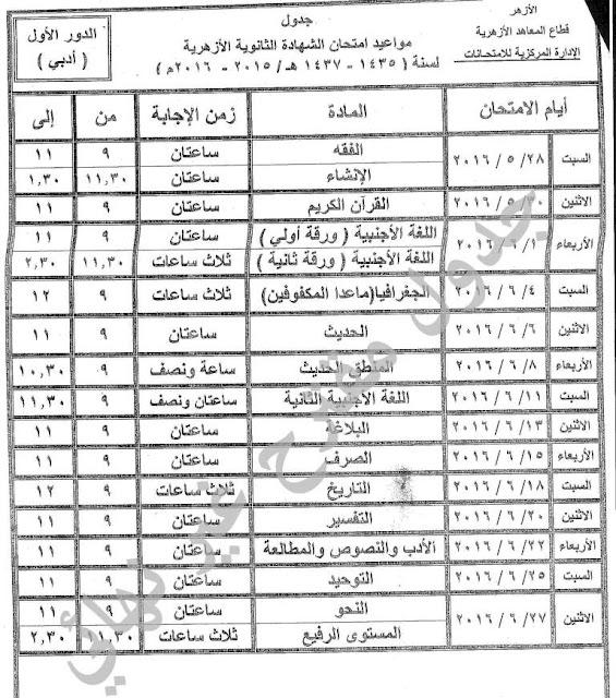 جدول امتحانات الثانوية الازهرية 2016 الشعبة الأدبي