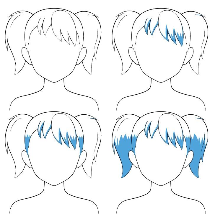 Langkah naungan rambut kuncir anime