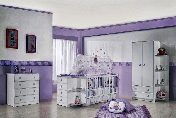 Habitación de bebé lila blanco