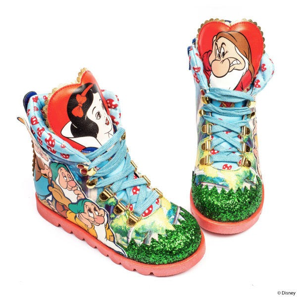 childrens ankle boots with Snow White and dwarf characters on and green glitter toe
