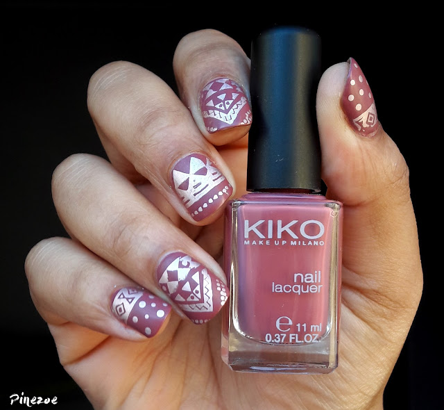 Kiko 365 & Plaque NJX007 : nail art tribal