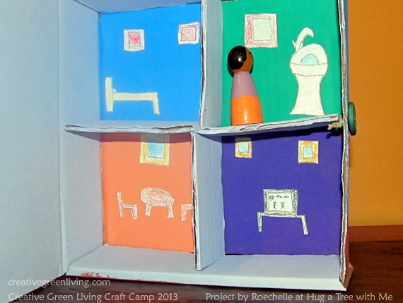 recycled box doll apartment from roechelle at hug a tree with me creative green living. Black Bedroom Furniture Sets. Home Design Ideas