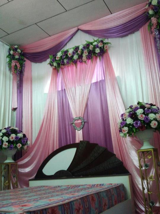 Set Bilik Tidur Bunga Panjang Warna Tema Purple Pink Putih