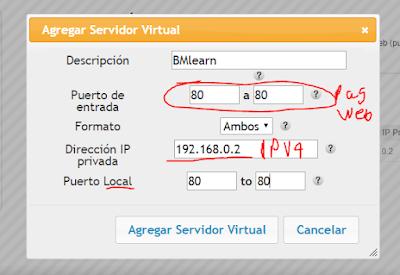 Agregar servidor virtual modem Arris