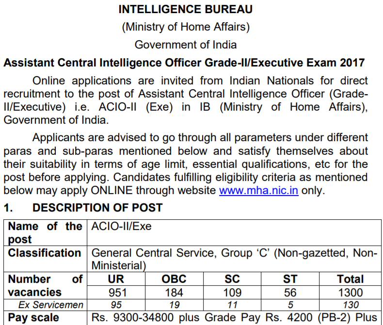 IB ACIO Recruitment, IB ACIO Notification, IB Intelligence Officer Recruitment Notification, IB Vacancy 2017, IB Graduate Level Vacancy, IB ACIO Grade-II Recruitment