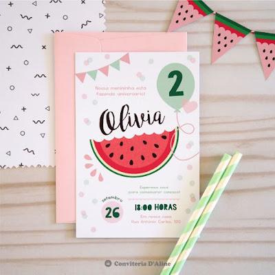 convite aniversario melancia infantil personalizado