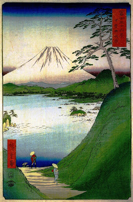 """Hiroshige Andō, """"36 widoków na górę Fudżi"""", drzeworyt przedstawiający górę Fudżi"""