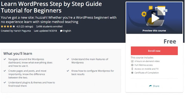 [100% Free] Learn WordPress Step by Step Guide Tutorial for Beginners