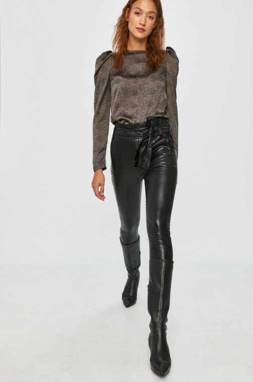 Answear Lab - Pantaloni cu talie inalta din piele eco cu curea inclusa