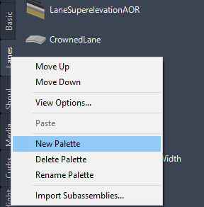 New palette in Autodesk Civil 3D