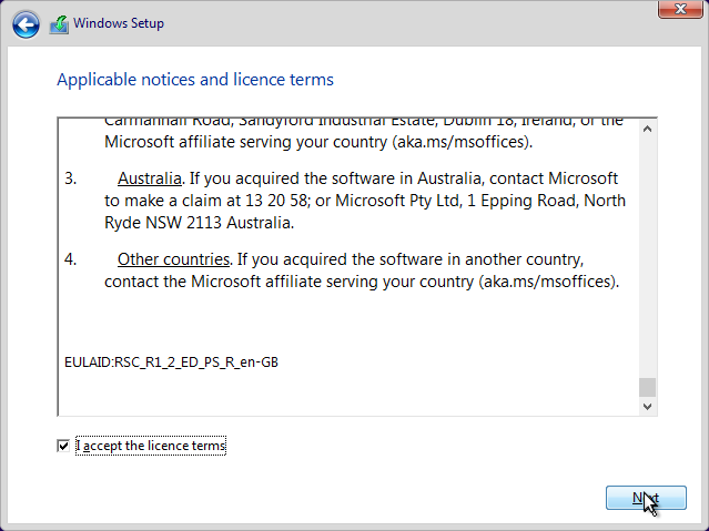 Install Windows Licence Terms