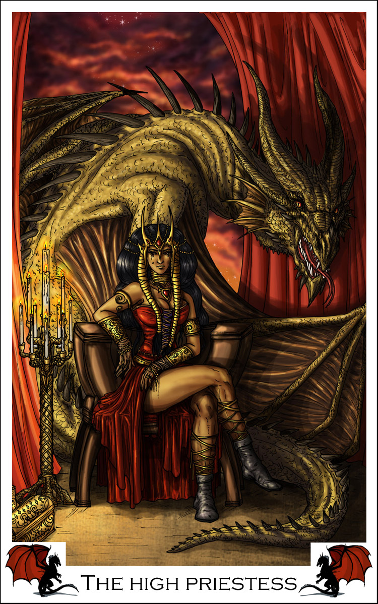 High Priestess Full Colorful Deck Major Stock Illustration: Learning The Tarot: The High Priestess