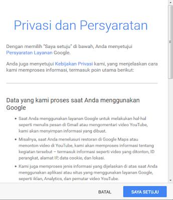 setujui privasi dan persyaratan untuk membuat email