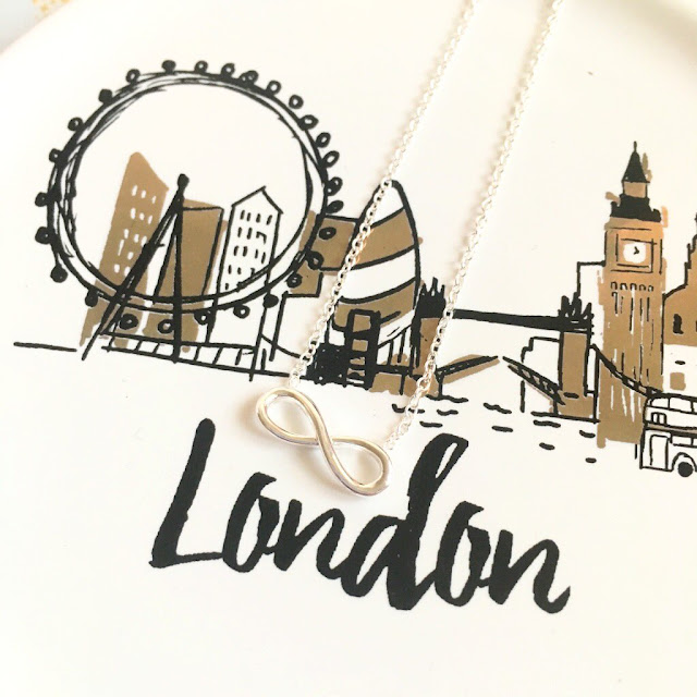 Jewellerybox Infinity necklace on london trinket dish