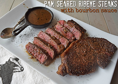Pan seared ribeye steaks with bourbon sauce recipe featuring Certified Angus Beef #bestbeef #gorare