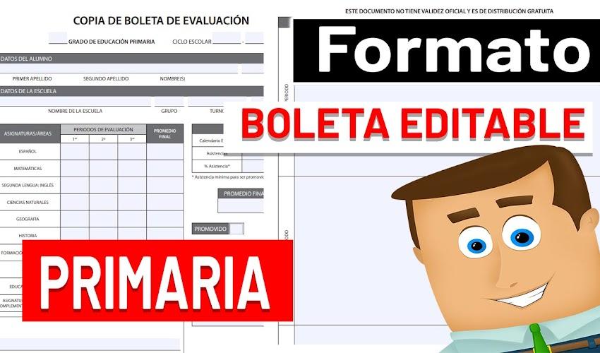 Formato de Boleta de evaluación para PRIMARIA 2020-2021