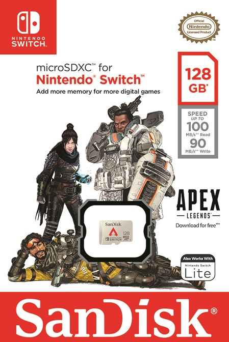Western Digital Sandisk Apex Legends-themed memory card for the Nintendo Switch