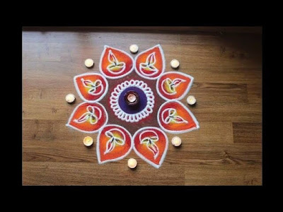 SIMPLE RANGOLI WITH DIYA