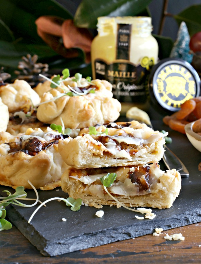 Recipe for appetizers made with savory pastry, mustard, caramelized onions and Gruyere cheese.