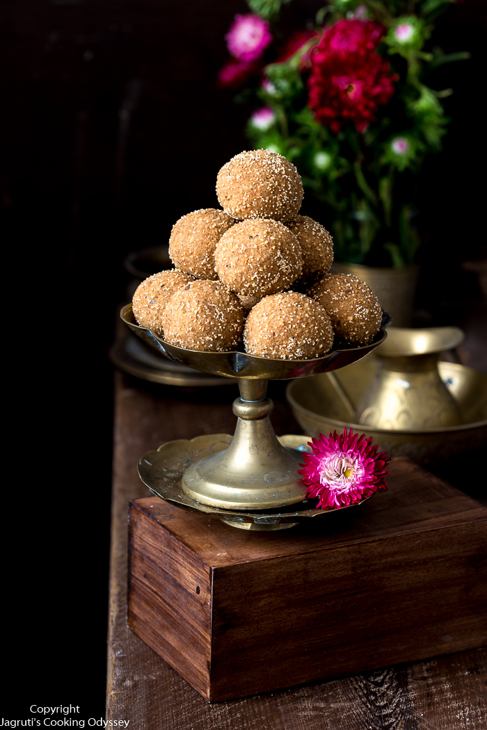 These ladoos served in a brass plate
