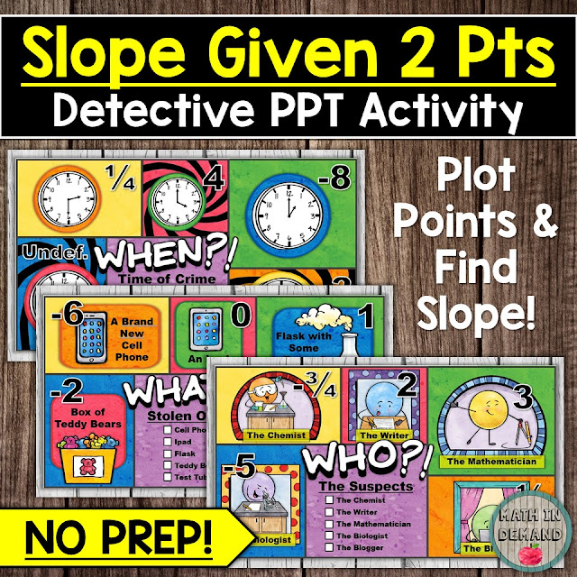 Slope Given Two Points Detective PowerPoint Activity