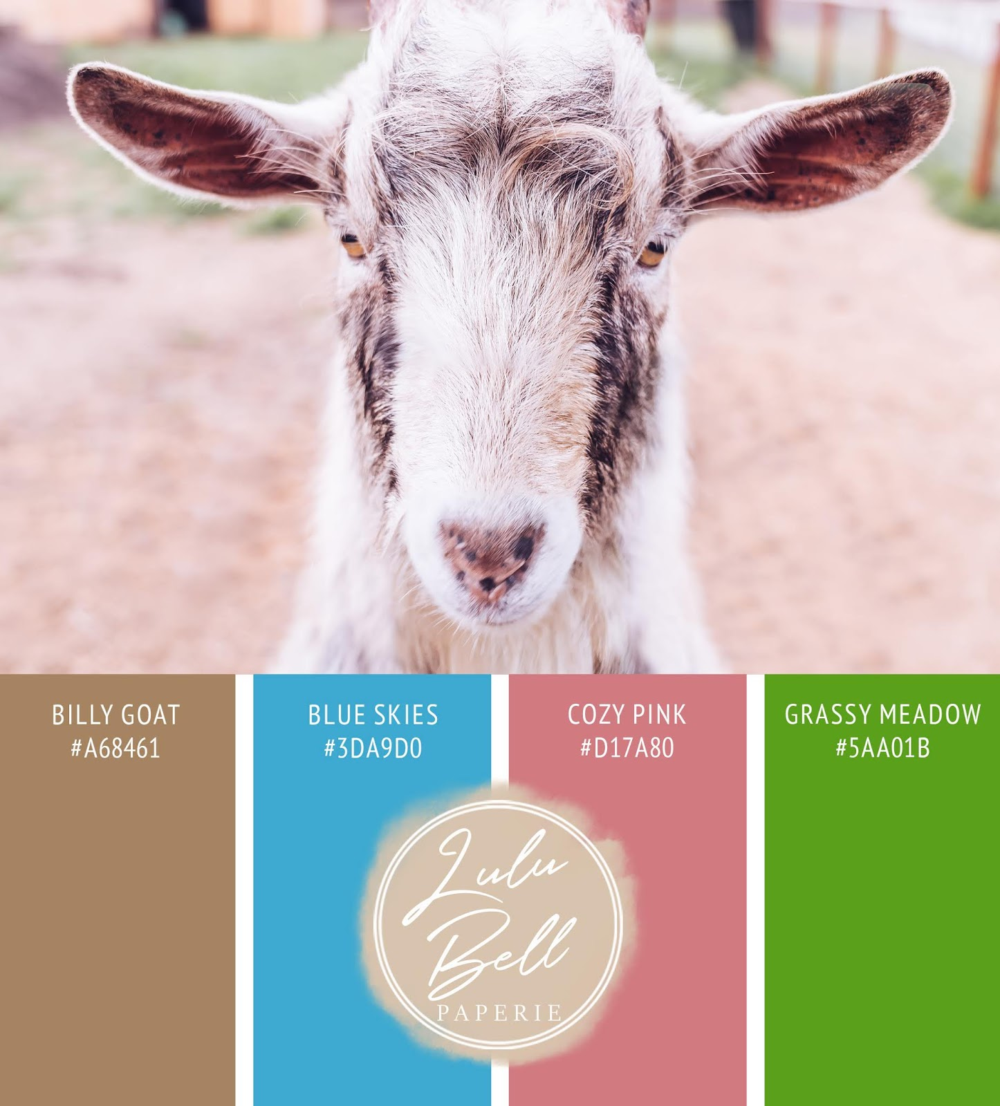 Paint swatch color palette card, with hex codes - on the farm in cozy pink, blue skies, grassy meadow green, and billy goat brown.