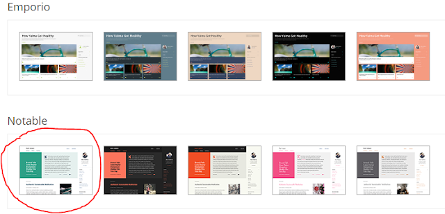 Notable Blogger Template, a standard template in Blogger
