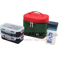 Lock & Lock Lunch Box 3 Pcs Set with Basic Pattern Bag HPL758S3CR