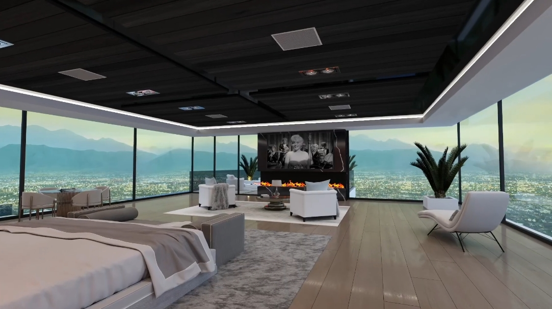 44 Interior Design Photos vs. 1043 N Bundy Dr, Los Angeles Ultra Luxury Mansion Rendering Tour