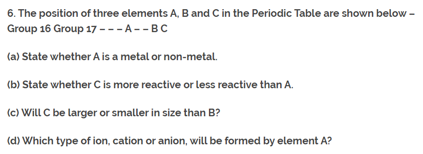 Class 10th Ch-5 Ncert Questions Answer Periodic Table Q6.