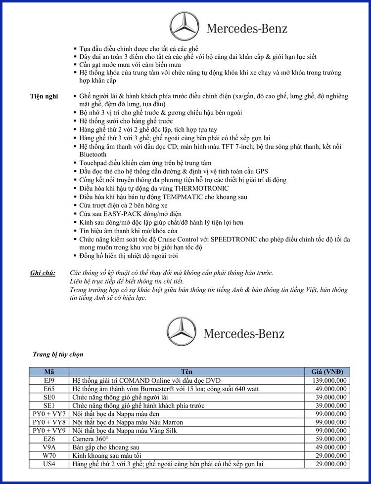 Bảng thông số kỹ thuật Mercedes V220 d Avantgarde 2018 tại Mercedes Trường Chinh