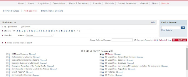 Screen shot of Sources menu within LexisLibrary