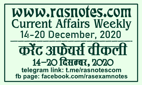 Current Affairs GK Weekly December 2020 (14-20 December) in hindi pdf