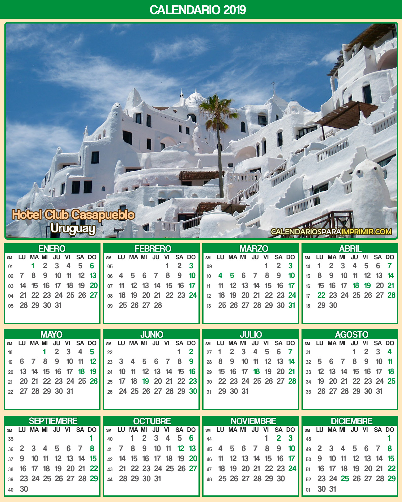 calendario uruguay 2019