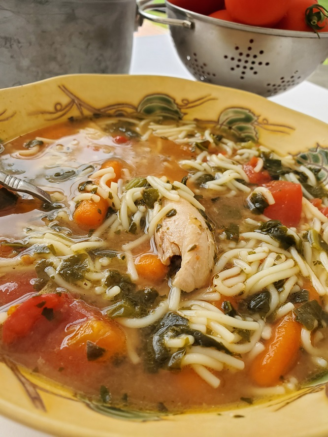 This is Grandma's homemade chicken soup in a bowl with pasta and carrots in broth