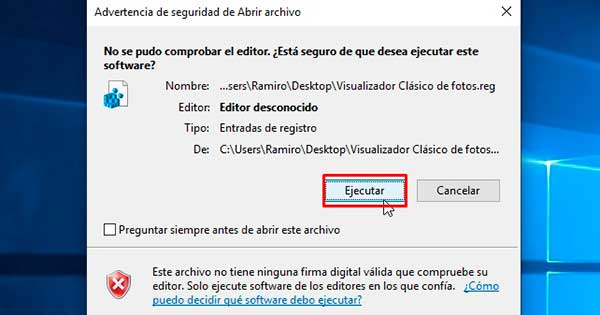 recuperar visor de fotos clásico en Windows 10