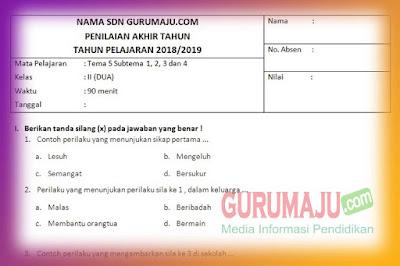 Soal PAT / UKK Kelas 2 Tema 5 Kurikulum 2013 Tahun 2019