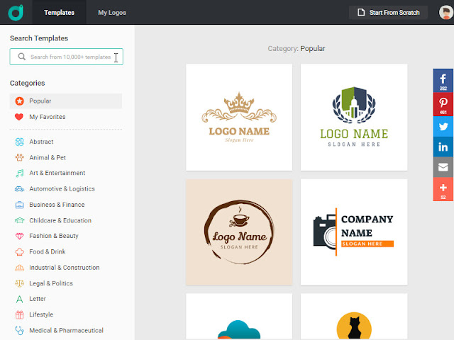 DesignEvo Logo Library – 10,000 + Logo Templates for Your Customization