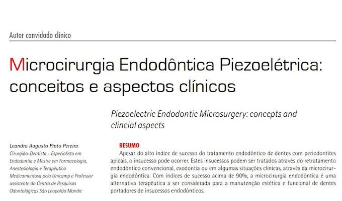 PDF: Microcirurgia Endodôntica Piezoelétrica: conceitos e aspectos clínicos