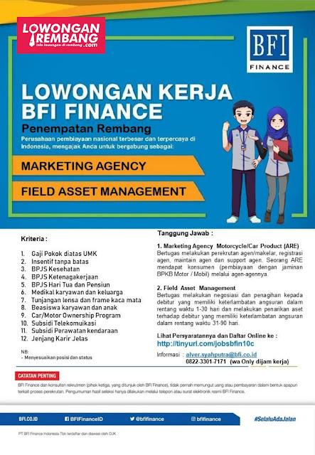 Lowongan Kerja Field Asset Management dan Marketing Agency BFI Finance Rembang