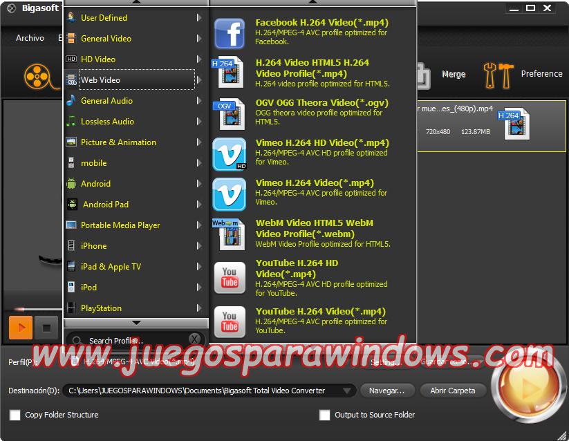 Bigasoft Total Video Converter v4.4.2.5399 Multilenguaje ESPAÑOL Convierte Archivos De Video y Audio a Otros Formatos 3