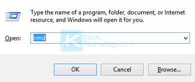Buka Command Prompt (CMD). Anda bisa tekan Windows + R kemudian ketikkan 'cmd' pada kotak yang tersedia lalu tekan enter. Adapun cara alternatif lainnya adalah dengan membuka menu Windows lalu ketikkan 'cmd'.