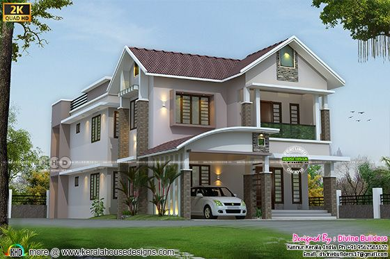 Front sloping roof back flat roof house design