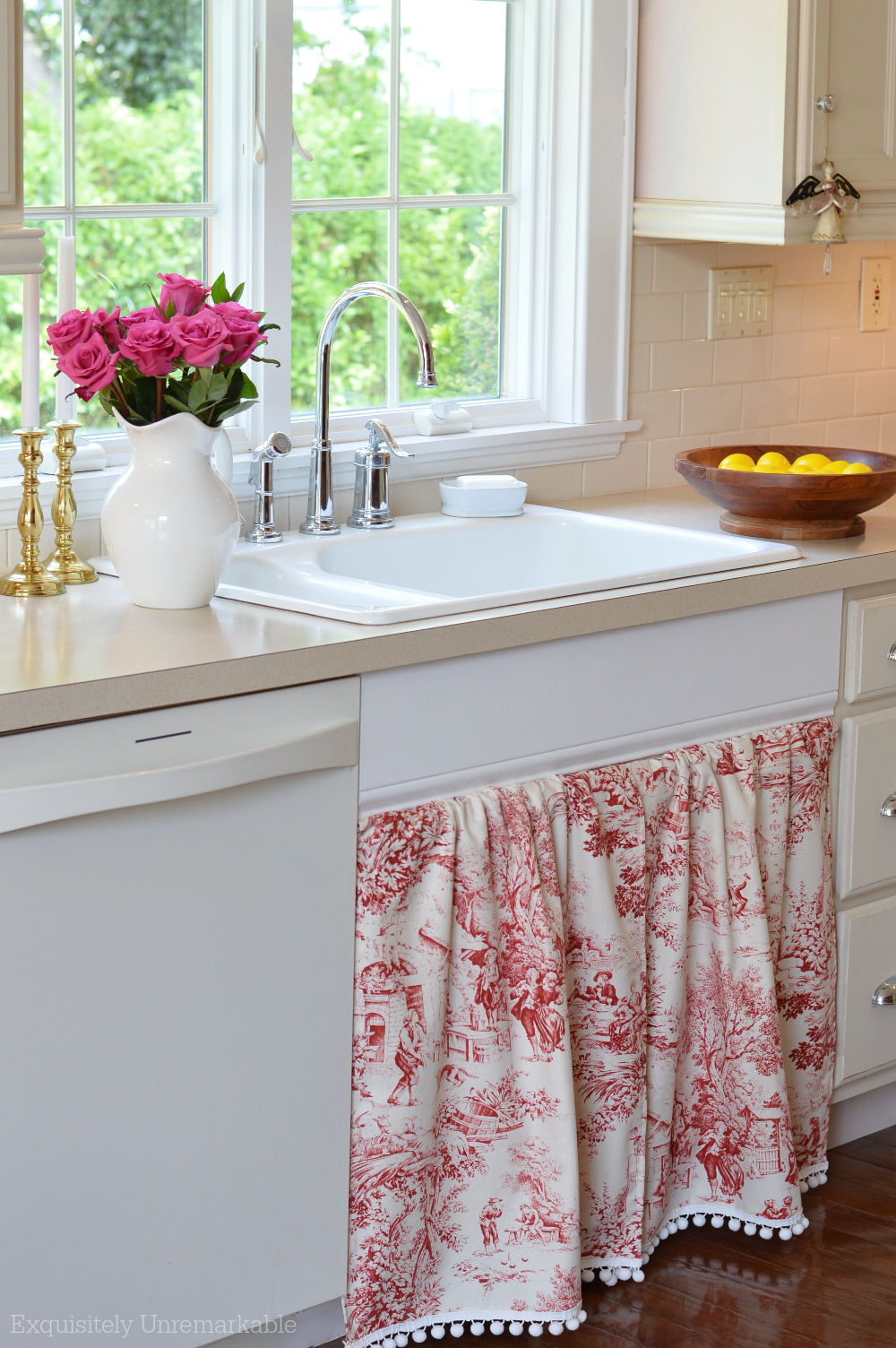 Red Toile Sink Skirt In the Kitchen
