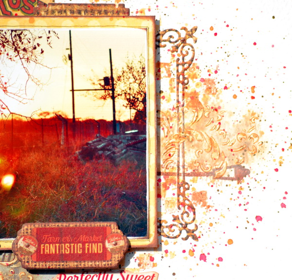 Mixed Media Layout by Denise van Deventer using BoBunny Farmers Market Collection and Die-cuts