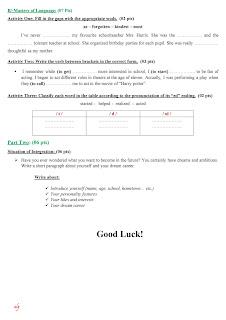 إختبارات الفصل الأول و الثاني إنجليزية لرابعة متوسط للتحضير للشهادة التعليم المتوسط