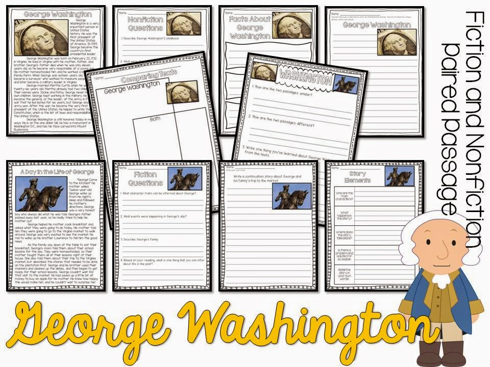 Presidents' Day paired passages- fiction and nonfiction passage with comprehension pages