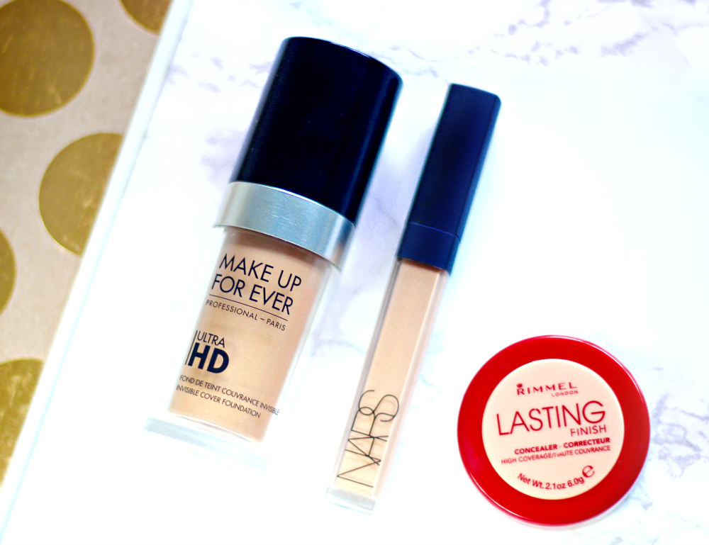 MUFE Ultra HD foundation Y365, NARS Concealer in Ginger, Rimmel Lasting Perfection 3